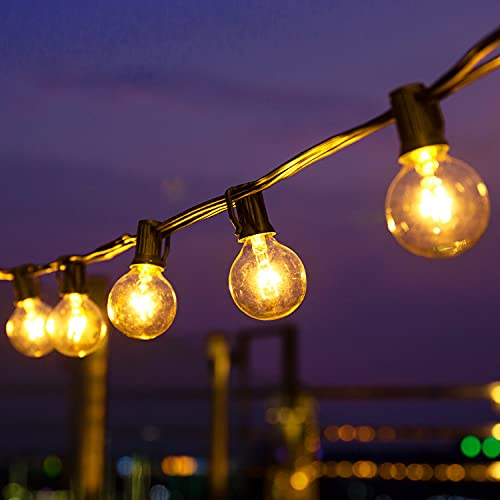 Joomer 25Ft Outdoor String Lights,G40 Hanging Bulb String Lights Edison Vintage Incandescent Bulbs 15 Hanging Sockets with Heavy-Duty Waterproof for Patio, Yard, Porch, Outdoors, E12 Base, 5W Bulb