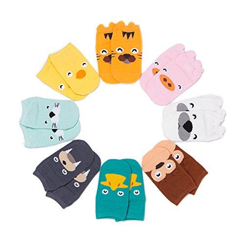 VWU Lot de 8 Paires Unisexe Garçons Filles Antidérapant Bebe No Show Low Cut Basses Animal Bébé Chaussettes en Coton 1-3/3-5 ans (0-2 Ans)