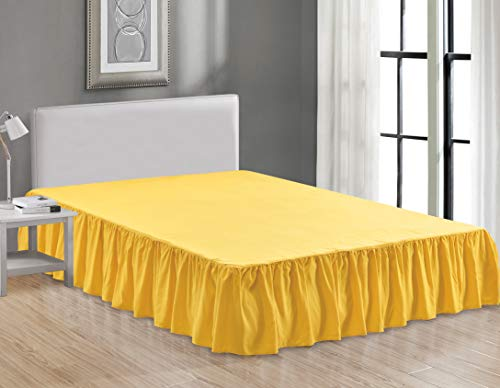 Sheets & Beyond Wrap Around Solid Microfiber Luxury Hotel Quality Fabric Bedroom Gathered Ruffled Bedding Bed Skirt 14 Inch Drop (Queen, Yellow)