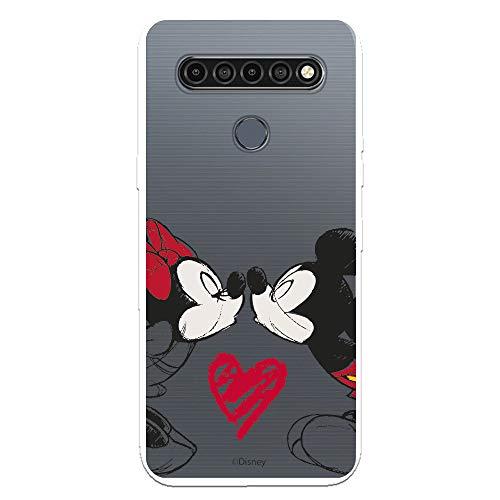 Funda para LG K61 Oficial de Clásicos Disney Mickey y Minnie Beso para Proteger tu móvil. Carcasa para LG de Silicona Flexible con Licencia Oficial de Disney.