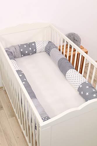 Baby Nestschlange | Made in EU | ÖkoTex 100 | Schadstoffgeprüft | Antiallergisch | Baby Bettumrandung | Bettschlange | Graue Sterne | 300 x 13 cm | ULLENBOOM ®