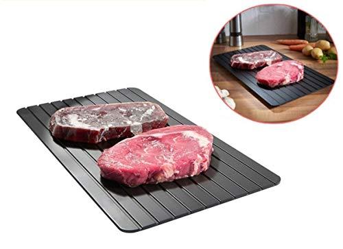 Defrosting Tray Board,Auftaubrett,Schnelle Auftauplatte, Essen Auftauen, Fleisch Auftauen, Fisch| Tiefkühlware Auftauen 100% Natürlich | Aluminium Premium Antihaft + Anti-Tropf-Struktur, Schwarz