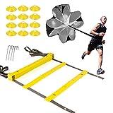 XGEAR Set de 1 Escalera de Velocidad y Agilidad, 1 Paracaídas de Correr, 12 Conos de Deporte, 4 Clavos Largos y 1 Mochila para Deportista, Atleta y Futbolista