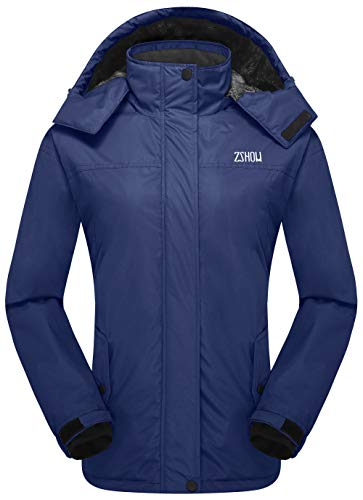 ZSHOW Women's Outdoor Waterproof Ski Jacket Warm Fleece Snow Coat (Navy Blue,Large)