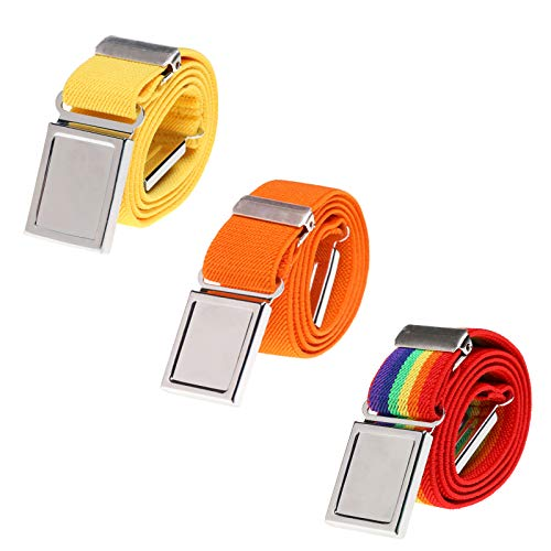 3 PCS Kids Adjustable Magnetic Belts - Easy to Use Magnetic Buckle Belt for Boys and Girls (Yellow/Orange/Rainbow stripe)