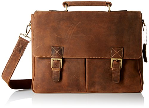 Visconti Berlin Leather Twin Buckle Briefcase with Detachable Strap, Tan