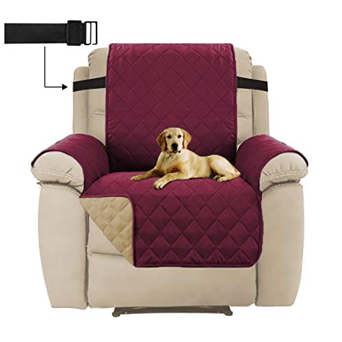 Reversible Recliner Chair Cover, Sitting Width Up to 22' Washable Sofa Slipcover Furniture Protector with 2' Elastic Straps, Water Repellent Recliner Cover for Pets (Recliner,Burgundy/Beige)