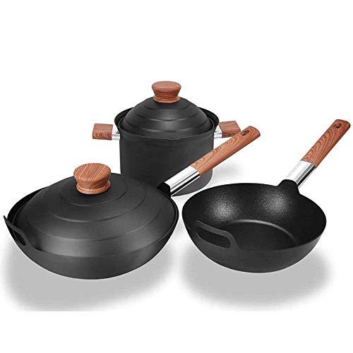 QIXIAOCYB Wok Copper Pots and Pans Set 3-Piece Nonstick Cookware-Stick Wok and Glass Lid Induction-Safe Smokeless Stir-Fry Pans Heat Insulating Anti-Scald Hand Shank, Set Casserole