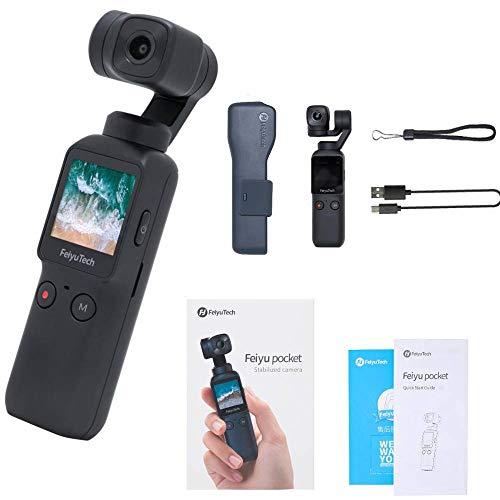 FeiyuTech - Telecamera cardanica tascabile a 6 assi, 4 K HD, stabilizzatori cardanici grandangolari con telecamera di azione integrata per video foto e sport panoramici
