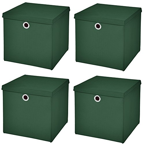StickandShine 4er Set Dunkelgrün Faltbox 28 x 28 x 28 cm Aufbewahrungsbox faltbar mit Deckel