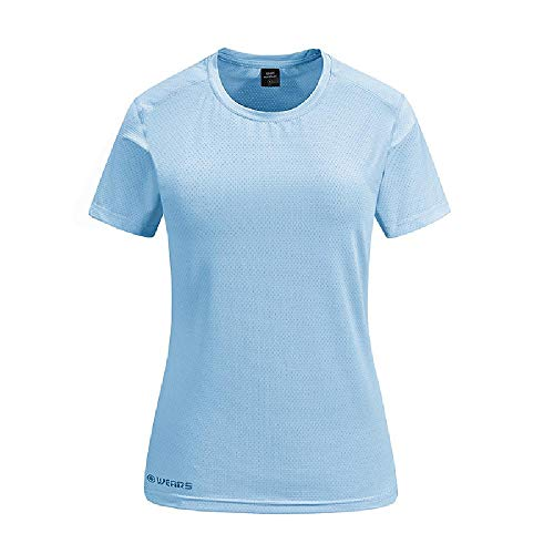 NOBRAND Sommer Outdoor Sport Kurzarm T-Shirt Damen Elastisch Mesh Atmungsaktiv Trocken Kleidung Yoga Fitness Kleidung Rundhals Gr. Large, Weiblich Hellblau