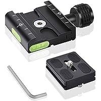 UTEBIT QR 50 mm Aluminio Placa de liberación rápida Compatible con Arca Swiss Adaptador de Abrazadera con Alfombrilla Antideslizante para cámara/trípode