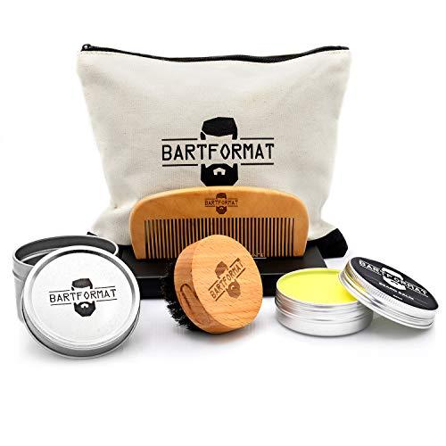 BARTFORMAT® 4-teiliges Bartpflege-Set GLATTMACHER - inklusive Bart-Balsam (60ml) + Bart-Bürste + Bart-Kamm + Kulturbeutel - Hochwertiges Set für die tägliche Bartpflege - Ideales Geschenk für Männer