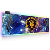 World of Warcraft RGB Soft Gaming Mouse Pad Large Oversized Glowing Led Extended Mousepad Non-Slip Rubber Base Computer Keyboard Pad Mat 31.5X 11.8in