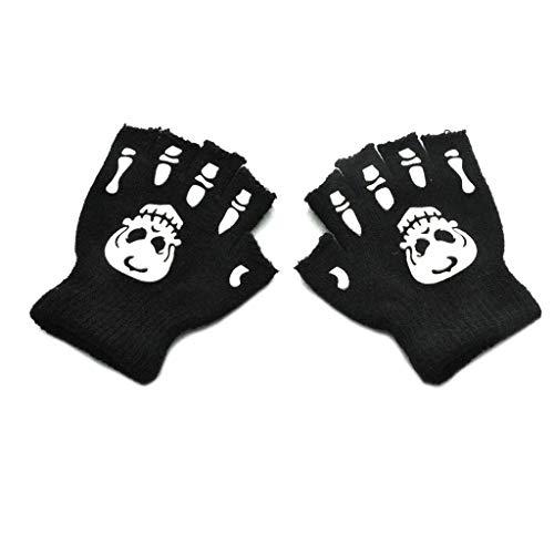 Catyrre 1 Paar Halloween Cosplay Skelett Halbfinger Handschuhe leuchtende fingerlose Handschuhe für Kinder von 5 bis 12 Jahren Gr. Einheitsgröße, a