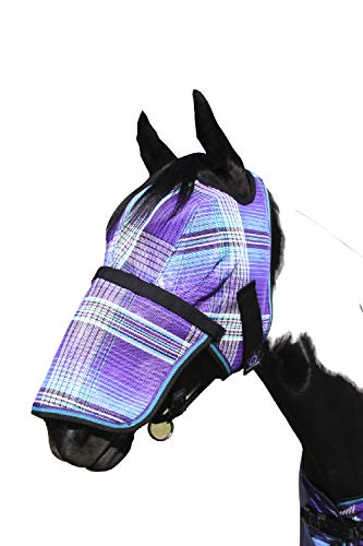 Kensington Signature Removable Nose Fly Mask - Protects Horses Face Nose from Insects, UV Rays, While Allowing Full Visibility - Ears Forelock Able to Come Through The Mask (XL Lavender Mint)
