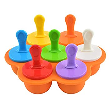 Ice Pop Mould DIY Ice Cream Lolly Mini Ice Pops Mold Maker Tray Silicone 7 Cavities with Colourful Plastic Sticks Ice Cream Silicone DIY Frozon Popsicle Moulds for Children Family Orange