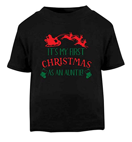 Flox Creative T-Shirt pour bébé Inscription My First Christmas Auntie Noir - Noir - 1-2 Ans