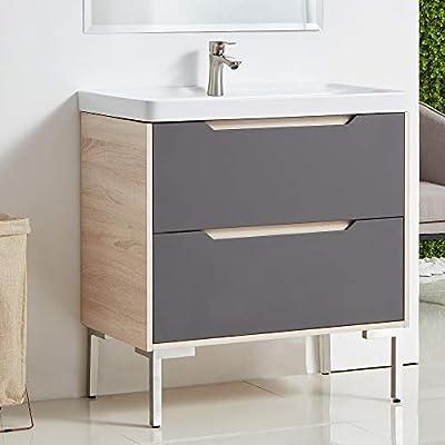 Bathroom Vanity,Vanity Cabinet,Modern Farmhouse Bathroom Vanity Set,32 Inch Gray and Beige Stand 2 Drawer Bath Vanity With Sink,Small Single Bathroom Combo Cabinet with Ceramic Vessel Sink
