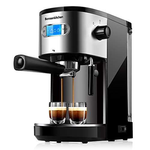 20 Bar Espresso Machine Coffee Machine With Foaming Milk Frother Wand 1 Or 2 Shot, 1350W High Performance No-Leaking 1.25 Liters Removable Water Tank Coffee Maker For Espresso, Cappuccino, Latte, Machiato, For Home Barista BZ-US