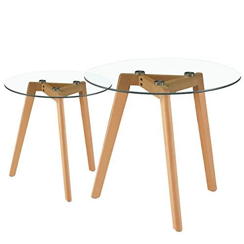 LiePu Runder Beistelltische, Skandinavische Satztisch 2er Set, Couchtische aus Glas und Holz, Sofatisch Kaffeetisch für Wohnzimmer