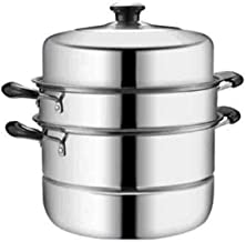 HJRD Steamer, Stainless Steel Steamer, Household 30cm Three-layer Thickening, Electromagnetic Cooker Universal