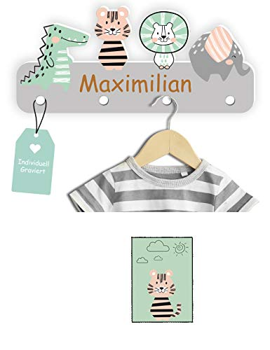 Kindsblick Garderobe mit Wunschname inkl. DIN A4 Poster - Personalisierte Kindergarderobe mit 4 Kleiderhaken für Kinder (Junglefreunde - Grau)