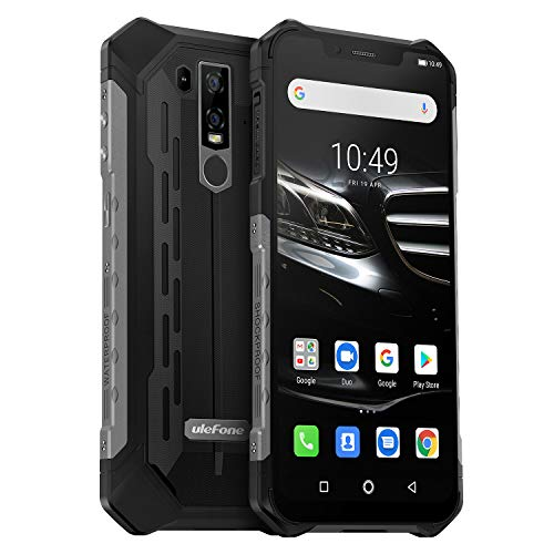 Ulefone Armor 6E (2019) Outdoor Smartphone Qi fähig 6,2 Zoll FHD+ Bildschirm, Helio P70 Android 9 Handy IP68 Wasserdicht, 4GB RAM+64GB Speicher,16MP+2MP+8MP Kamera, 5000mAkku 4G Globale Version, Schwarz
