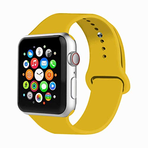 VIKATech Correa de Repuesto Compatible con Apple Watch de 44 mm 42 mm, Correa de Silicona Suave de Repuesto para iWatch Series 4/3/2/1, M/L, Yellow