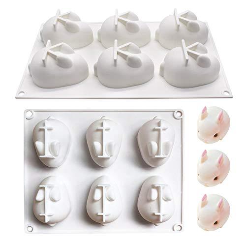 TheStriven 2 Stück 3D Hase Form Silikonform Ostern Hasen Silikonform Backformen Kuchen Dekorieren von Werkzeugen für Backform, Mousse Chiffon Gebäck Kuchen Schokoladenkuchen (Groß + Klein)