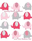 Monthly Planner Elephants! 2016-2017 Academic Year: 8.5x11 Large 16 Month Calendar