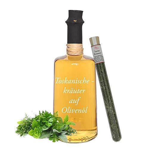 Wajos Toskanische Kräuter auf Olivenöl 0,5l & gratis dazu Oliv & Co. Reagenzglas mit Salatkräutergewürz