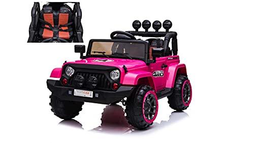 TOYSCAR electronic way to drive Auto Macchina Elettrica per Bambini Fuoristrada Adventure Rosa 12V MP3 LED con Telecomando Full Optional Sedili in Pelle