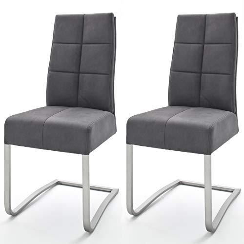 Robas Lund Esszimmerstühle 2er Set Grau, Schwingstuhl Esszimmerstuhl mit Taschenfederkern, Stuhl Salva 2