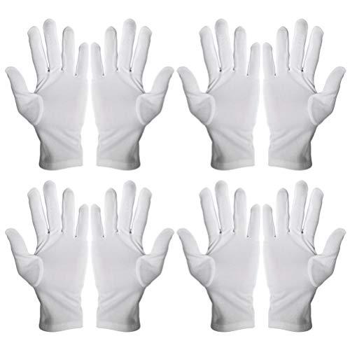 Solustre 12 Paar Stoff Handschuhe Weiß Polyester Arbeitshandschuhe Atmungsaktiv Staubfrei Schutzhandschuhe Arbeitskleidung Juweliergeschäft Münzen Küche Restaurant Zuhause Labor Im Freien