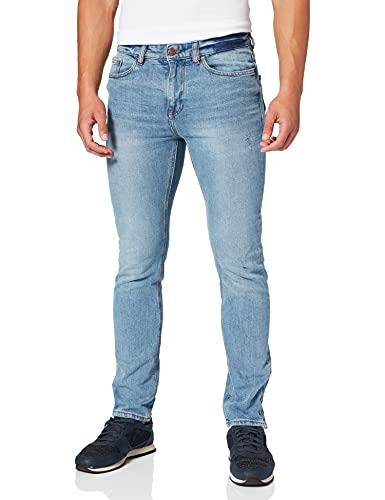 Springfield Jeans Slim Lavado Vintage Pantalones, Azul Medio, 30