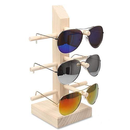 Gafas de sol gafas Pantalla de madera Soportes Estante Gafas Pantalla Mostrar soporte soporte Rack 9 Tamaños Opciones Material natural (Color : 3 pairs)