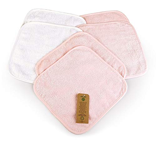 6 Toallas de Bebé, 4 Rosa y 2 Blanco, 30x30 cm, 100% Algodón orgánico