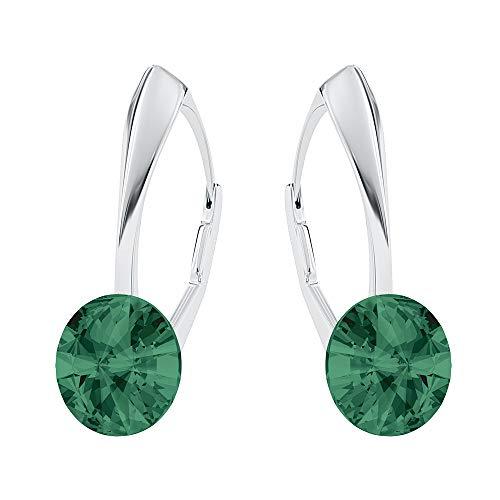 Pendientes de plata de ley 925 con cristales de Swarovski – Rivoli – esmeralda – Pendientes para mujer – Bonita joya para mujer con caja de regalo