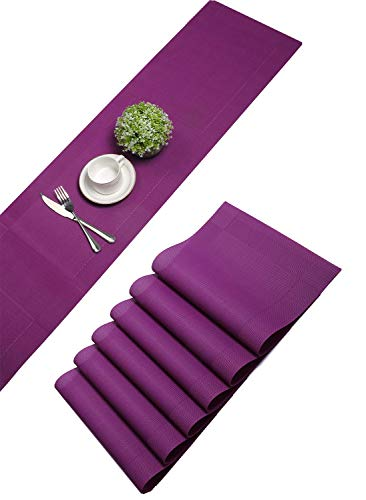 U'Artlines 6er Set Platzsets und Tischläufer Hitzebeständigen Waschbaren Woven Vinyl Tischsets und Tischläufer(6+1,Lila)