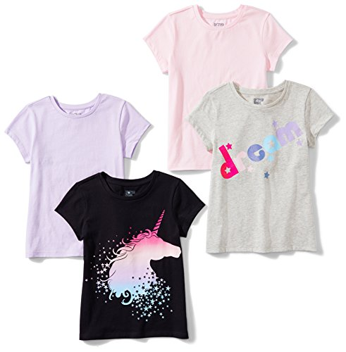 Spotted Zebra Girls' Kids Short-Sleeve T-Shirts, 4-Pack Mystic, Small