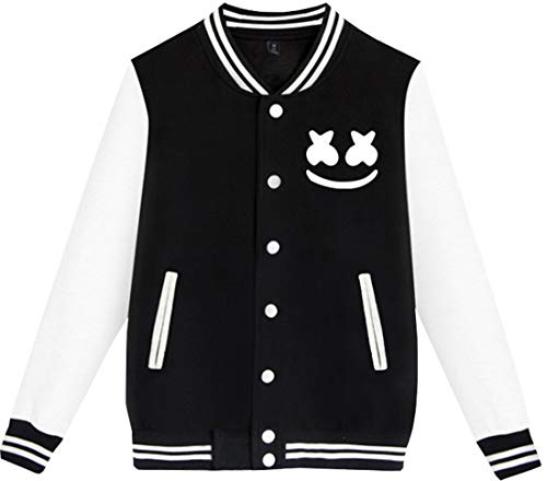 FLYCEHN Jungen Jacken mit Happy Logo Druck Baseballuniform (1-schwarz 3408,l)