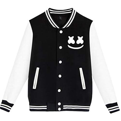 FLYCHEN Uniforme da Baseball per Ragazzi e Bambini con Logo DJ Pop Music Style Hip-Hop Giacca Sportivi per Ragazzi Outwear - Nero - XXS