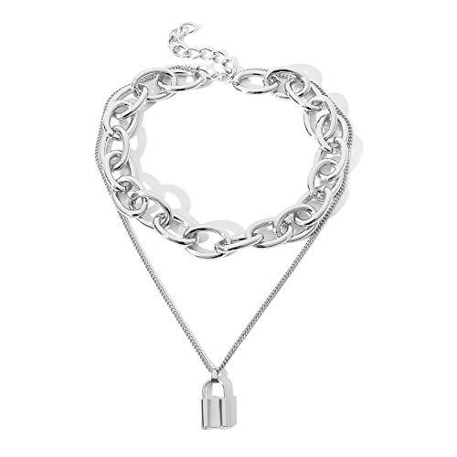Daimay Legierung Choker Halskette Lock Anhänger für Frauen Männer Chunky Chain Punk Gothic Halsketten Pullover Kette - Silber