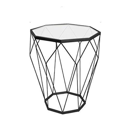 N/Z Tägliche Ausrüstung Tisch Schreibtische Klapptisch Schmiedeeisen Couchtisch aus gehärtetem Glas Runder Tisch Couchtisch DREI Farben Optional 46 x 56 cm