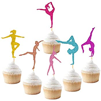 Gymnastics Cupcake Topper Gymnast Themed Cake Food Fruit Dessert Appetizer Picks Girl Birthday Party Supplies Colorful Glitter Decorations Set of 24