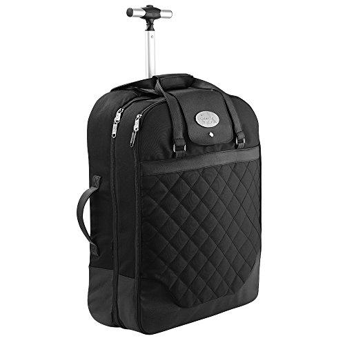 Cabin Max Monaco vestito vettore bagaglio a mano valigia 55x40x20 cm. Perfetto per i voli Ryanair e Easyjet. (nero)