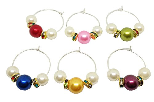 Verre à vin Charms Anneaux avec ensemble de perles faites à la main personnalisé Lot de 6 pour maison de cuisine Décoration de fête de mariage et fournitures par Bipy