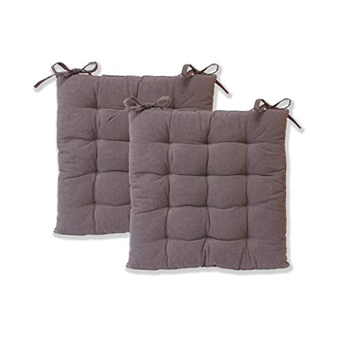etérea Sitzkissen - Ilka Stuhlkissen Serie - Boden-Kissen mit Bändern für Indoor und Outdoor, 100% Baumwolle nach Ökotex 100, Größe: 2er Set - 40x40 cm, Farbe: Anthrazit