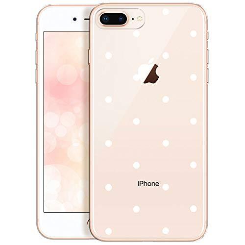 Qult Fundas para iPhone Compatible con iPhone 7 Plus/iPhone 8 Plus – Funda de Silicona Transparente con Lindos Motivos – Fundas iPhone Ultra Finas Puntos Blancos